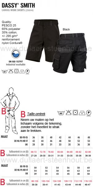 DASSY® Smith (250044) Canvas werkshort / korte werkbroek zwart