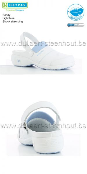 Oxypas - SANDY - Modieuze klomp in leder op hak - Light blue