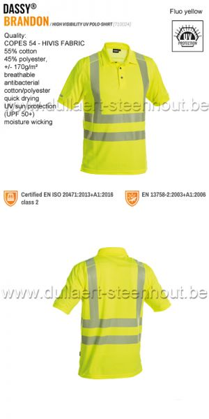 DASSY® Brandon (710024) High visibility UV polo shirt - fluogeel