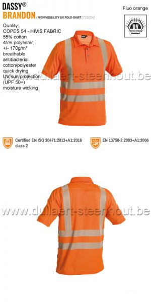 DASSY® Brandon (710024) High visibility UV polo shirt - fluo-oranje