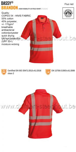DASSY® Brandon (710024) High visibility UV polo shirt - fluo-rood