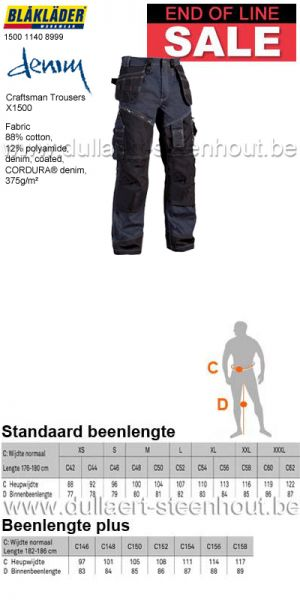 END OF LINE - Jeans werkbroek 1500 1140 8999