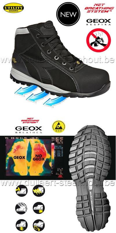 Lichte Werkschoenen.Werkkleren Diadora Utility Glove Tech Hi S3 Werkschoenen