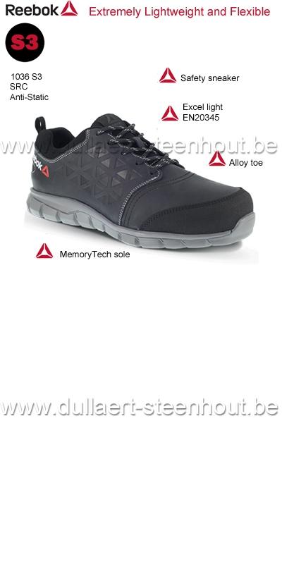 Sportieve Werkschoenen.Werkkleren Reebok 1036 S3 Src Sportieve Zwarte Lage Lederen