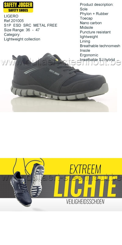 Lichte Werkschoenen.Werkkleren Safety Jogger Extreem Lichte Werkschoen Ligero S1p