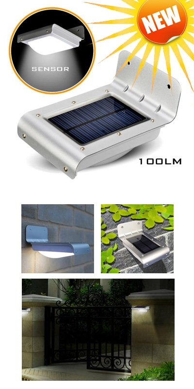 solar motion light 100lm ledverlichting voor buiten security sensor
